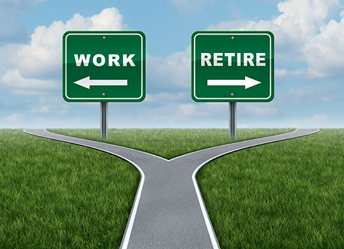 image of roads signs saying work or retire