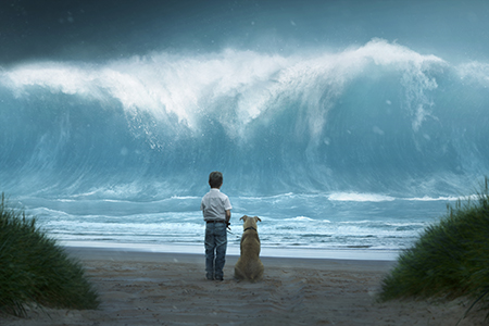 boy with his dog, on beach, tsunami wave approaching